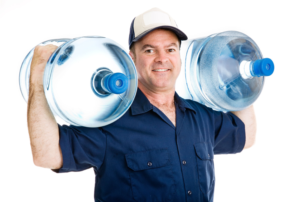 one guy carrying two water bottles